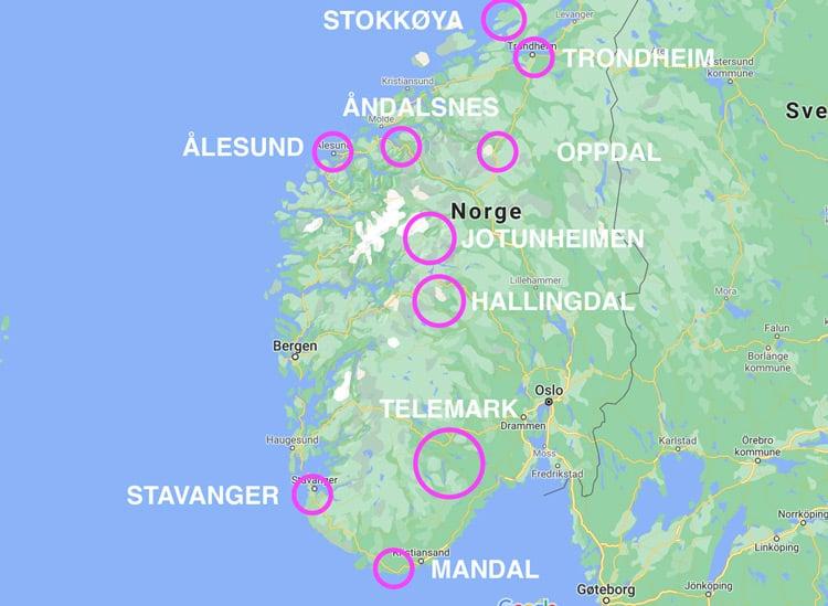 kart over SørNorge