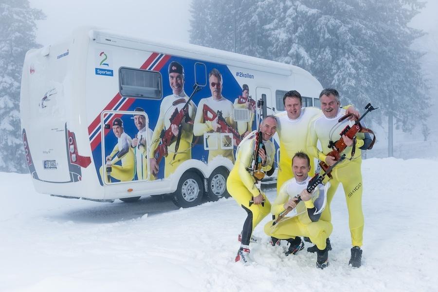 TV2s Christian P. Paasche, Harald Bredeli, Erik Libæk Hansen, Odd-Bjørn Hjelmeset og Ole Kristian Stoltenberg er klare for Skiskytter VM 2016 i Holmenkollen.