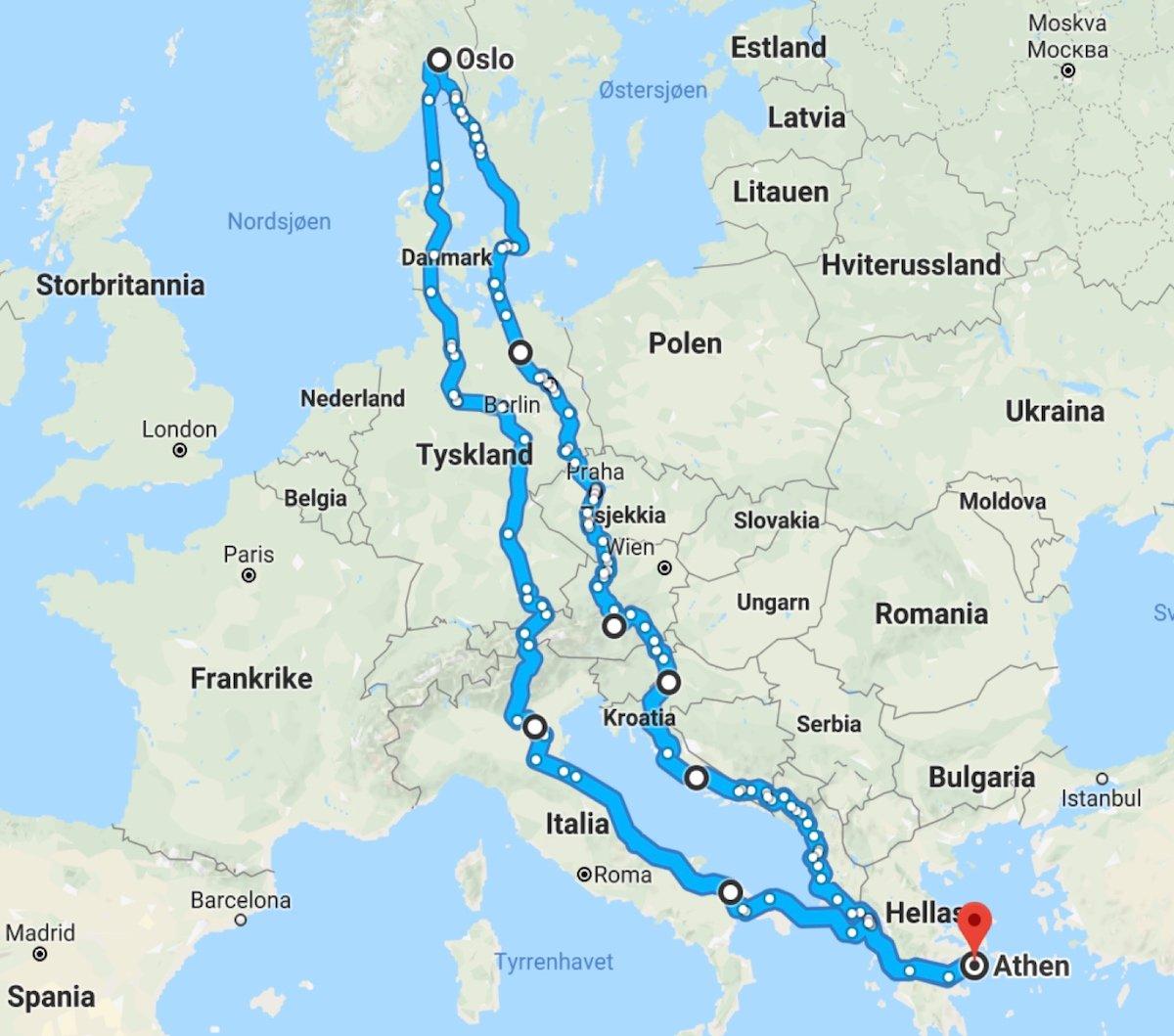 Per Vies planlagte reiserute til Hellas