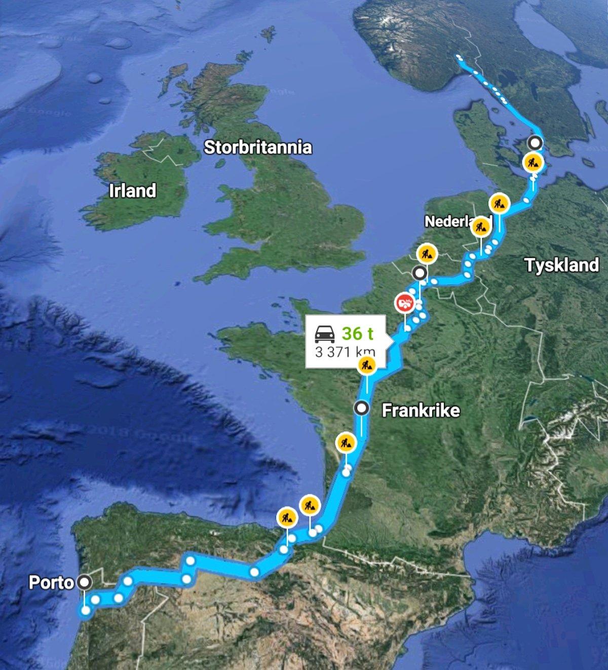 Reiserute hjem fra Portugal